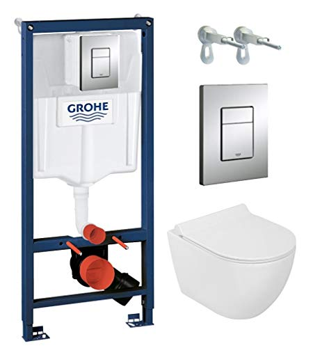 Grohe Vorwandelement inkl. Drückerplatte chrom + Lavita Wand WC Vela ohne Spülrand + WC-Sitz mit Soft-Close-Absenkautomatik + Wand-Halter-Set