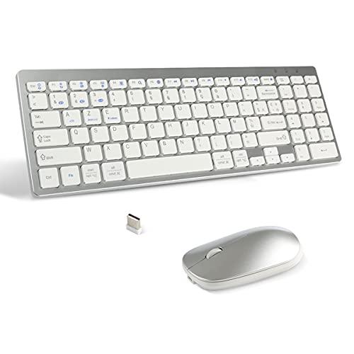 Teclado ratón inalámbrico 2, 4 GHz ratón Bluetooth Teclado Bluetooth Recargable para Windows 10/8/7,  PC de sobremesa,  ordenador portátil,  tablet Android,  compatible con iPad iOS13 o superior