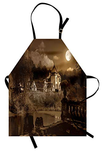 Cooking Kitchen Aprons, Gothic Apron Photo of Old Medieval Myst House in Retro Vintage Color at Full Moon Boho Style Unisex Kitchen Bib Apron with Adjustable Neck for Cooking Baking Gardening Brown