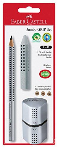 Faber-Castell 111996 - Bleistiftset Jumbo GRIP 2001, mit 1 Bleistift, 1 Radierer + 1 Spitzer, silber