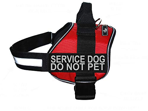 Doggie Stylz Service Dog Harness Vest Comes with 2 Reflective Service Dog DO NOT PET Patches. Please Measure Dog Before Ordering (Girth 19-25', Red)