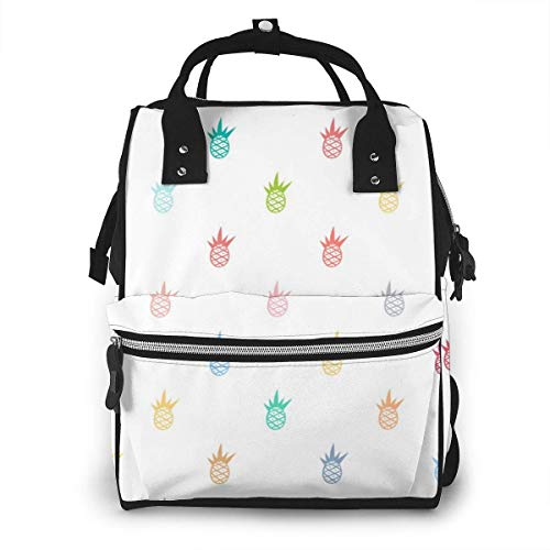 UUwant Sac à Dos à Couches pour Maman Cute Vintage Seamless Pattern with Pineapple Illustration in Pastel Colors Diaper Bags Large Capacity Diaper Backpack Travel Nappy Bags Mummy Backpackling