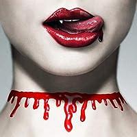 ハロウィン 血まみれ ネックレス チョーカー 首飾り 2本セット 面白 おもしろ 首切り 小道具 レディース メンズ コスプレ 赤色 血液 ブラッディ 怖い cos1283