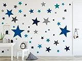 timalo® 120 Stück Wandtattoo Kinderzimmer XL Sterne Pastell Wandsticker – Aufkleber | 73079-SET26-120