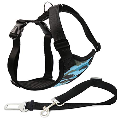 Musonic Dog Safety Vest Harness with Safety Belt for Most Car, Travel Strap Vest with Car Seat Belt Lead Adjustable Lightweight and Comfortable Black for Small Medium Large Dogs CamoBlue L