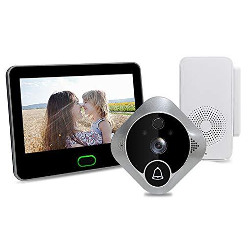 ZHBD Cámara De Timbre De Video Inteligente WiFi, 720P HD Wireless Remote Security Security Timbre con Gateway, 170 ° Lente Súper De Gran Angular, Detección De Movimiento Visión Nocturna
