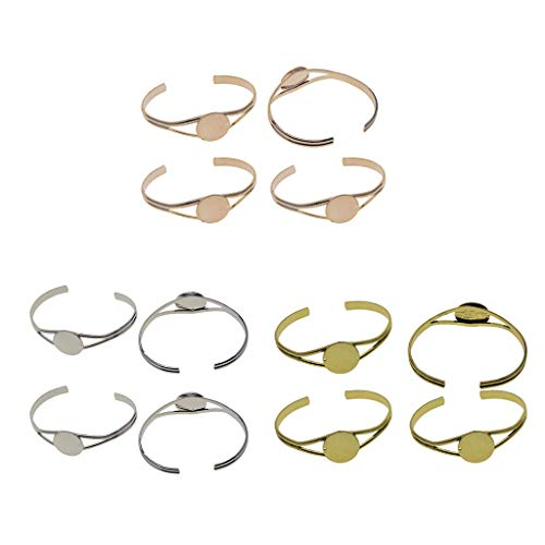 Colcolo Set of 12 Blank Cuff Bracelets DIY Adjustable Cuff Bracelet