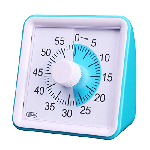 7.8CM Silent Visual Timer Kids 60 Minute Countdown Clock Optional Alarm (3S/60S) Loud/Low Soud for Kid Teacher Classroom Meeting Kid Children or Adults with Special Need (Blue Color)
