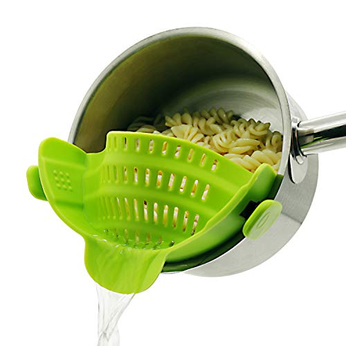 Clip on Strainer for pots pans, Snap on Strainer Made by FDA Approved, Heat Resistant Silicone, Easy...
