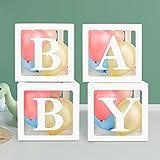 Domeilleur - Caja de globos para decoración de ducha de bebé, 4 cajas de globos transparentes blancos para Navidad, fiesta de cumpleaños, niño y niña, con 30 globos y 8 letras