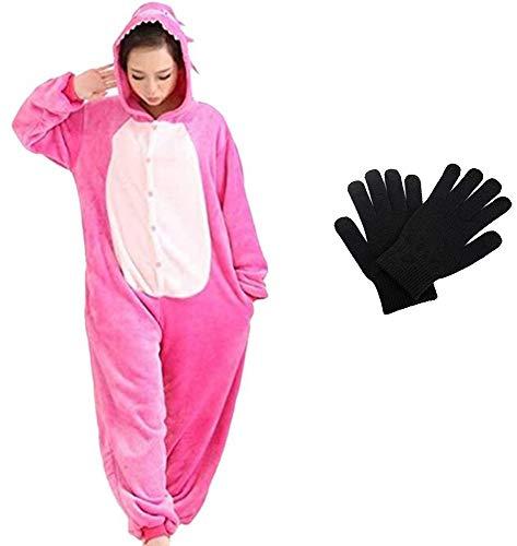 Kigurumi - Pijama de una pieza para disfraz de animal de Onesies para carnaval, Navidad, Halloween, fiestas, Cosplay de una pieza, cálido y suave con guantes de invierno Stitch rosa M