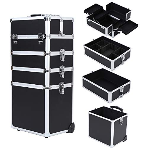 Ridgeyard 4 in 1 Universal Large Aluminium Frame Beauty Case Makeup Cosmetic Rolling Case Trolley Trunk Vanity Professional Portable Travel Organizer Box (Black with Silver Edge)