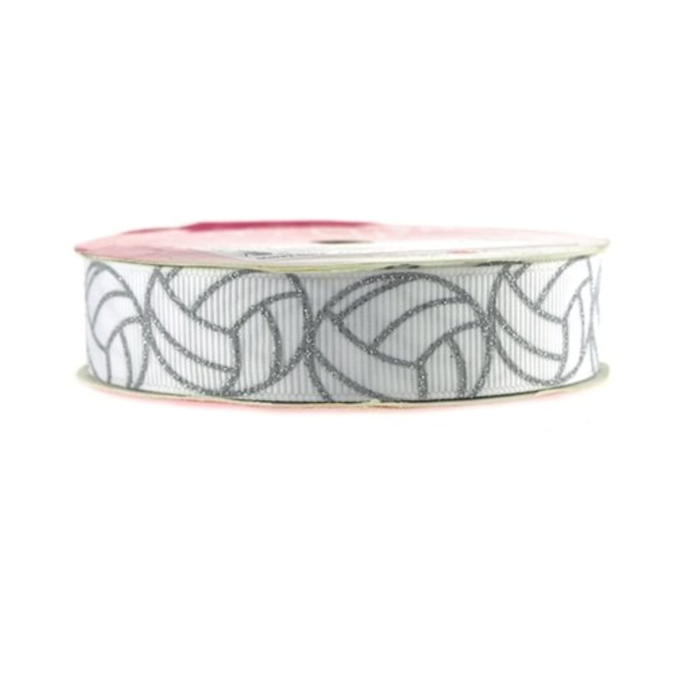Homeford Firefly Imports Volleyball Print White Grosgrain Ribbon, 7/8-Inch, 4 Yards, 7/8