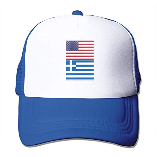 Preisvergleich Produktbild Voxpkrs American Flag and Greece Flag Unisex Grid Hat Baseball Cap Trucker Cap Adjustable Hat Cool6338