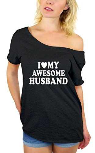 Awkwardstyles I Love My Awesome Husband Off Shoulder Tops T-Shirt + Bookmark M Black