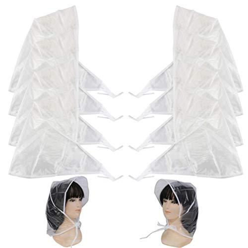 Qingsi 10 Pcs Waterproof Rain Hat Plastic Rain Bonnet Protect Hairstyle Hairdo for Women and Lady
