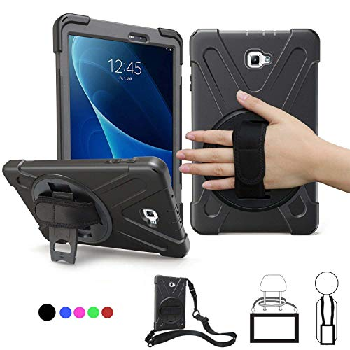 Samsung Galaxy Tab A 10.1 Case 2016,SM-T580 Case with Hand Strap,Heavy Duty Full-Body Rugged Protective Shockproof/Dropproof Cover with 360 Rotatable Stand,Shoulder Strap for Kids T585/T587,Black