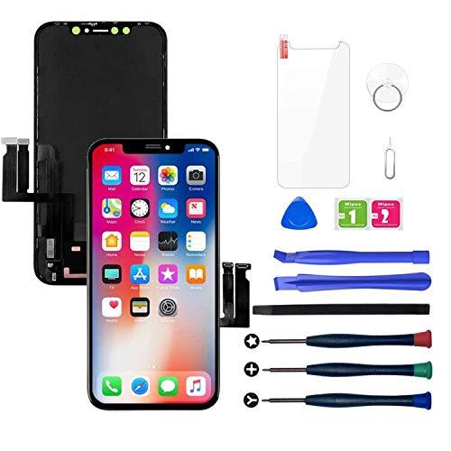 LWMTT Display Compatibile per iPhone XR Nero(6,1 Pollici), 3D Touch Sostituzione Vetro Digitalizzatore con Strumenti di Riparazione Completi con Vetro temperato