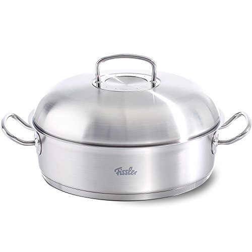 Fissler original-profi collection Stainless Steel Roaster (11-in, 5 Quart) High Domed Metal-Lid, round covered, Induction, silver