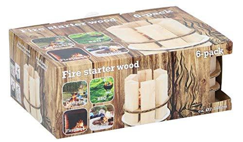 ABRUS - Anzündholz ideal zum Anzünden von Feuer in Öfen, Holzkohlegrill, Pizzaöfen und Smokern, sichere Holzkohleanzünder, Feuer aller Art (6 Stück)
