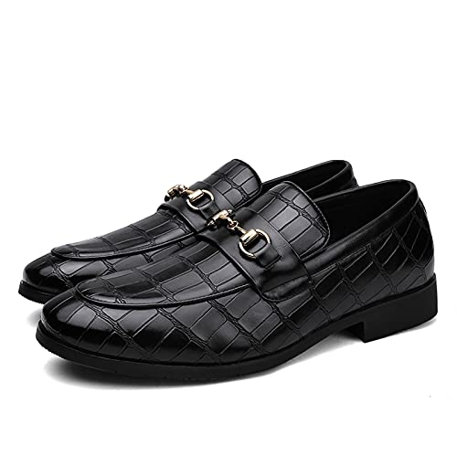 Zapatos de los hombres Zapatos de vestir clásicos de negocios casuales zapatos formales no deslizantes zapatos de cuero punta cuadrada transpirable moda todo partido 3301, Negro, 42 EU