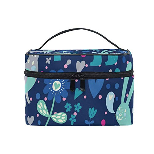 Blue Forest Animal Tree Floral Patternl Cosmetic Bag Toiletry Travel Makeup Case Handle Pouch Multi-Function Organizer for Women