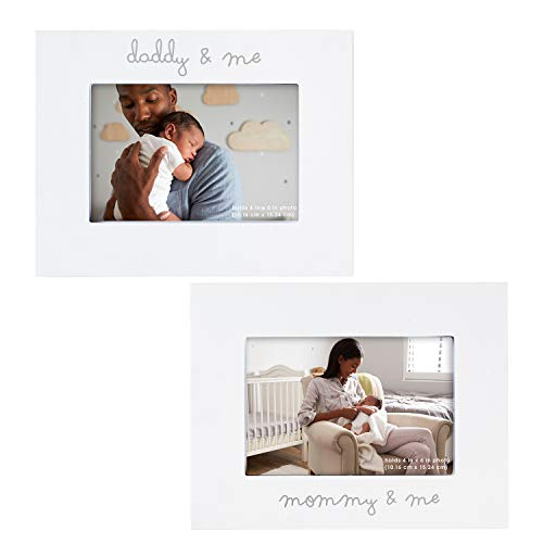 C.R. Gibson ''Mommy and Me'' and ''Daddy and Me'' Baby Photo Frame Set 2 Piece, 9'' x 7''