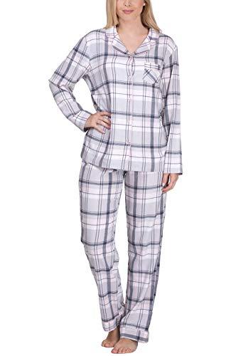 maluuna Flanell Schlafanzug für Damen aus 100% Baumwolle, Farbe:Altrosa, Größe:M