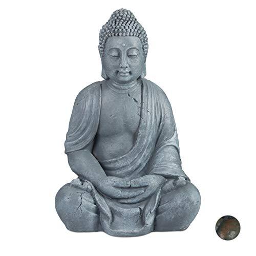 Relaxdays Buddha Figur sitzend, XL 70 cm, Gartenfigur, Dekofigur Wohnzimmer, wetterfest & frostsicher, hellgrau