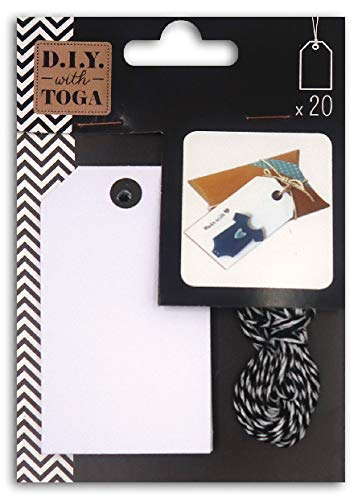 D.I.Y with Toga Lot de 20 Étiquettes Tags avec Ficelle Bicolore Assortie, Autre, Blanc, 9.5 x 13.5 x 1 cm