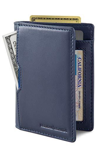 SERMAN BRANDS - Wallets for Men Slim Mens leather RFID Blocking Minimalist Card Front Pocket Bifold Travel Thin (Luxe Blue 5.0)