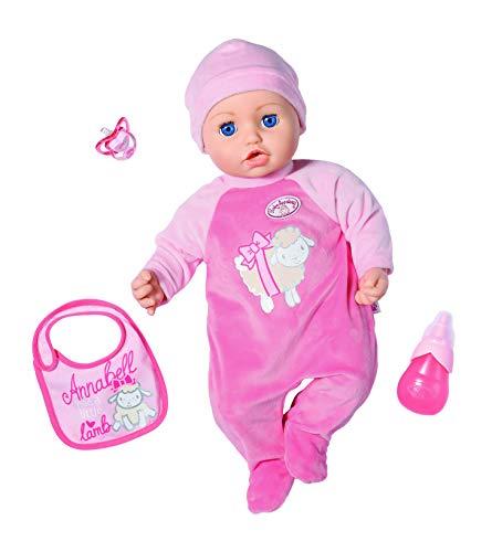 Baby Annabell Puppe mit Funktionen Annabell 43 cm, realistische Töne und Bewegung, weint, Kopf, witzig, 3 Zubehörteile, Spielzeug für Kinder ab 3 Jahren, BAY01