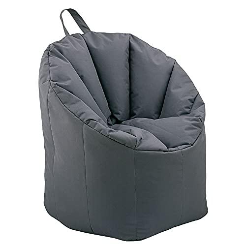 casamia Sitzsessel Sitzsack Garten Sessel ø 70 H 80 cm Gamingsessel Outdoor Big Bamba sehr formstabil fest Farbe grau - Basalt