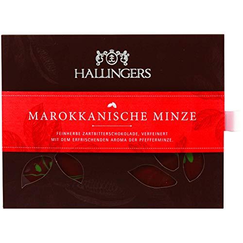 Hallingers Zartbitter-Schokolade mit Minze hand-geschöpft (90g) - Marrokanische Minze (Tafel-Karton) - zu Passt immer