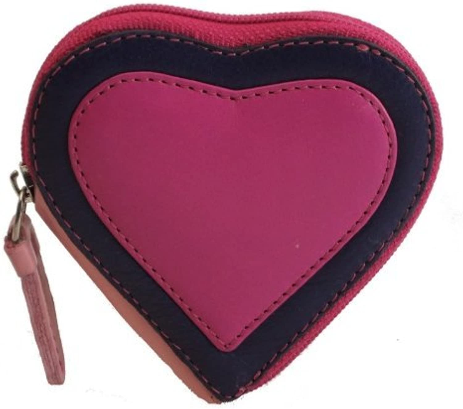 Visconti Capri RB59 Heart Shaped Leather Coin Purse Key Wallet With Key Chain (Berry)