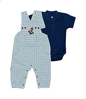 Baby Shoora Plaid Kangaroo Pocket Jumpsuit with Plain Short Sleeves Bodysuit Set for Boys - Light Blue and Navy, 3-6 Months