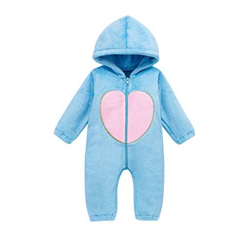 Topkeal - Pelele de manga larga para niña, traje de nieve, traje de invierno de forro polar con capucha para niños pequeños azul 90 cm