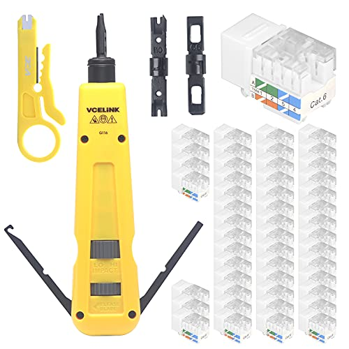 VCELINK Punch Down Impact Tool with 110 and 66 Blades Bundle with VCE 50 Pack Cat6 RJ45 90-Degree Keystone Jack