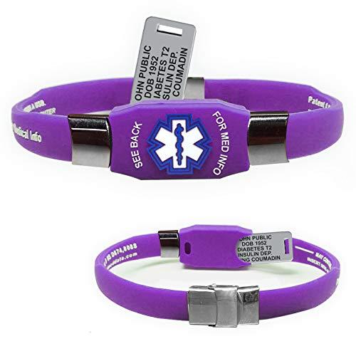 Waterproof Elite Medical ID Bracelet (incl. 10 Lines of Engraving on Acrylic Plate. Choose Your Color! (Purple)