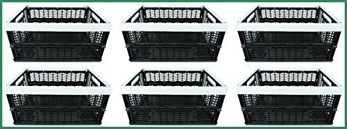 Novaliv Klappboxen faltbar stabil | 6X 30L Grau Schwarz Baskets Einkaufskiste| Klappkisten Set Tragebox Aufbewahrung Einkaufskörbe Körbe Aufbewahrung Küche