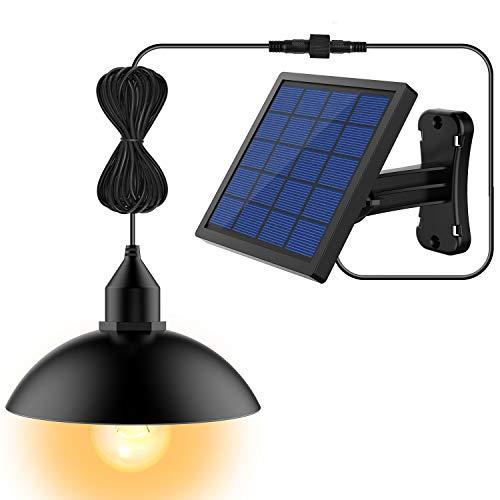 Solar Lights, LOZAYI Outdoor Solar Light, IP65 Waterproof 16.4Ft Cord Solar Powered Security Lights Black Mini Pendant Light with Adjustable Solar Panel for Garden Patio Home Decorate-Warm Light
