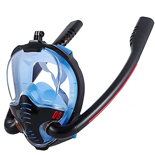 XDXT Máscara de Snorkel de Cara Completa para respiración Segura. Máscara de Buceo panorámico de 180 °, Equipo de Snorkeling de Doble Tubo con Soporte de cámara Traje de S/M