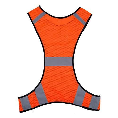 Voluxe Chaleco Reflectante, Alta Visibilidad Lima/Naranja Chaleco de Alta Visibilidad para Motociclismo para Ciclismo para Trotar para pasear Perros para Correr de Noche(Orange)