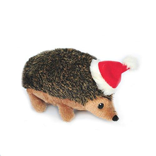 ZippyPaws - Holiday Hedgehog Plush Squeaky Dog Toy, Christmas Pet Gift - Large