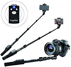 Fugetek FT-568 Professional High End Selfie Stick Monopod, For Apple, Android, & DLSR Cameras, Removable Wireless Bluetooth Remote (Black)
