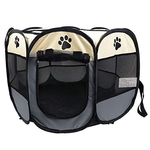 KEESIN Faltbarer Haustiere Laufstall, 8 Teiliges Netz Haus Welpenzelt Zwinger für Hund Katze Kaninchen Kleintiere (73 * 73 * 43cm, Grau)