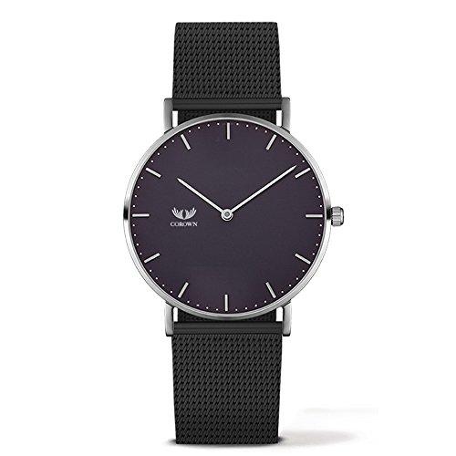 Corown | Line one | Black Black | Herren Uhr Edelstahl | Milanaise-Armband Silber | Schweizer Laufwerk