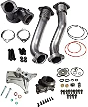 BLACKHORSE-RACING Bellowed Turbocharger Up Pipes Turbo Pedestal & Exhaust Housing with Turbo Upgraded 360 Thrust Rebuild Repair Kit Fit 1999.5-2003 Ford 7.3 Powerstroke Diesel