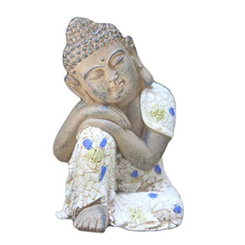 Sleeping Buddha Decorative Statue, Resin Buddha Crafts Used in Aquarium, Fish Tank Office Wine Cabinet Table Decoration Ornament H8CM