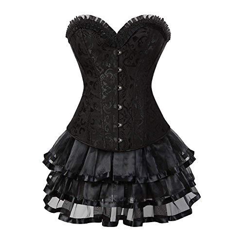 Eastery Korsetjurk voor dames, gothic bruid, korset, volledige borst met meerdere eenvoudige stijl, laag, kant, elegant, vintage, steampunk, bodyshaper, bustier corsage